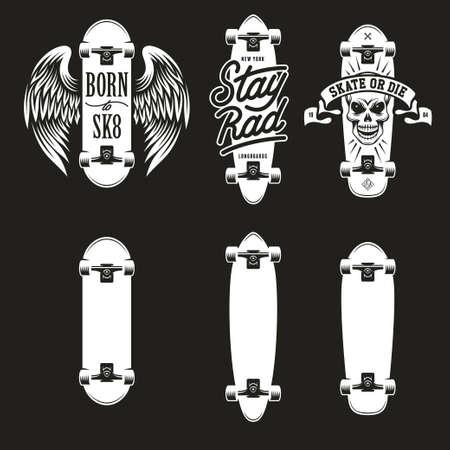 rad: Skateboarding t-shirt design set. Quotes about skating. Born to sk8. Stay rad. Skate or die. Three types of skateboards. Vector vintage illustration.