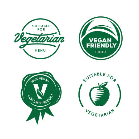 vegetarians: Suitable for vegetarian. Vegan related labels set. Stickers for food products. Healthy food icons. Vector vintage illustration.