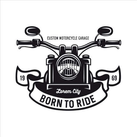 Vintage motorcycle t-shirt graphics. Born to ride quote. Vector illustration. Stock Illustratie