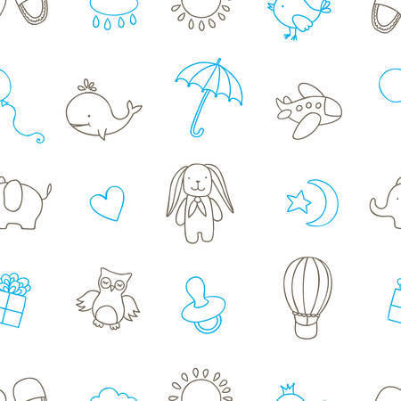 bootees: Baby shower related seamless pattern. Cartoon style cute design elements for greeting cards, package design, prints, apparel. Hand drawn vintage illustration.