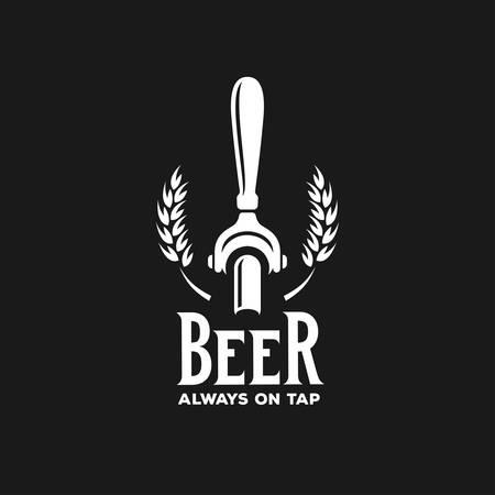 La cerveza siempre en la publicidad del grifo. elemento de diseño de la pizarra por un pub de cerveza. Ilustración del vector de la vendimia. Ilustración de vector