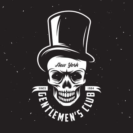tall hat: Vintage gentleman club emblem with skull in tall hat. Monochrome style. Vector illustration. Illustration