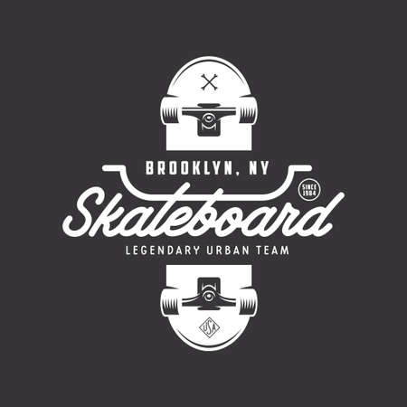 スケート ボード t シャツ デザイン。都市スケートします。スケート ボードのタイポグラフィ。ベクトル ビンテージ イラスト。