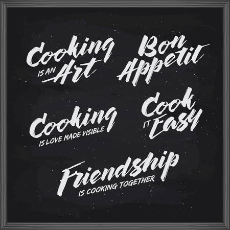 wordings: Cooking related typography set. Kitchen wordings. Bon appetit. Cook it easy. Cooking is an art. Vintage vector illustration.