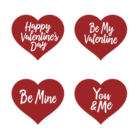 phrases: Valentine day typography badges set. All lovers holiday quotes. Vector vintage illustration.