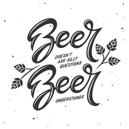 ビールは、タイポグラフィを関連。ベクトル ビンテージ イラスト。