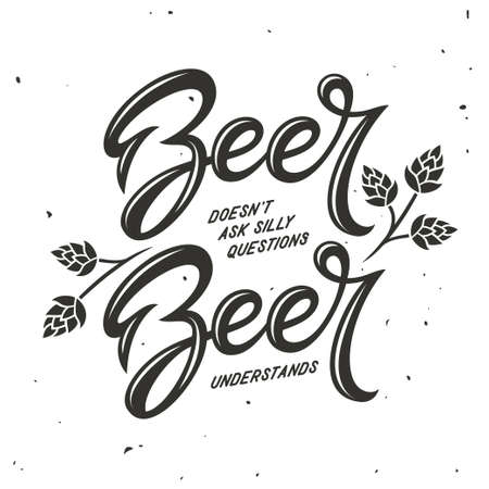 Biergerelateerde typografie. Vector vintage illustratie. Stock Illustratie