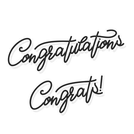 Congratulations. Hand lettering. Vector handwritten typography. Çizim