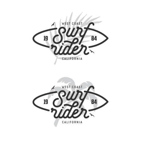 서프 라이더 문자 포스터입니다. 벡터 빈티지입니다. 일러스트