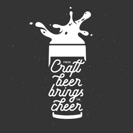 brings: Craft beer brings the cheer lettering poster. Chalkboard vector vintage illustration. Stock Photo