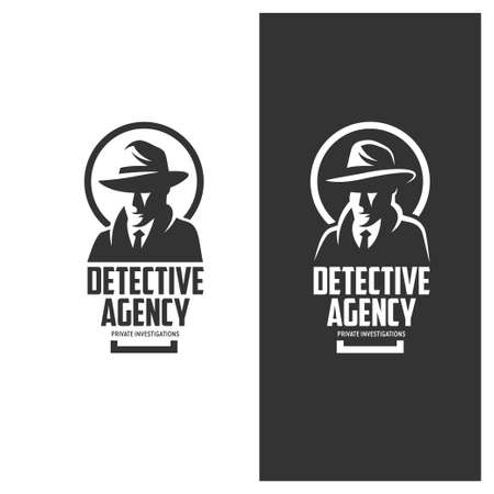 detective agency: Detective agency emblem with abstract man head in hat. Vintage vector illustration. Stock Photo
