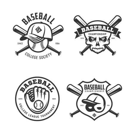 tournament: Baseball labels badges emblems set. Vector vintage illustration.