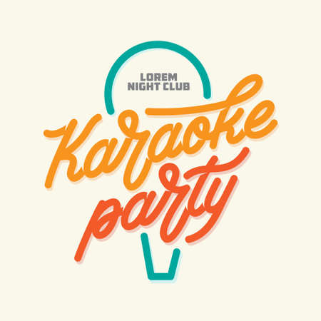 Karaoke party lettering advertising. Typography vintage illustration. Illustration