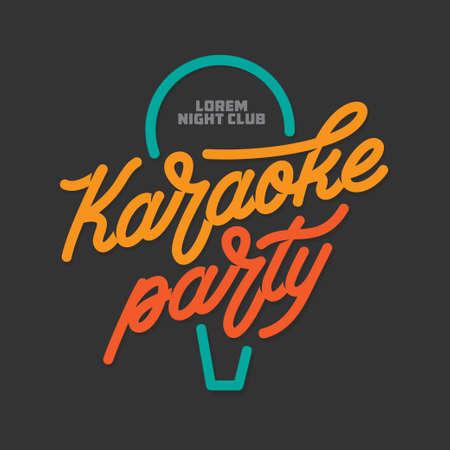 Karaoke party lettering advertising. Typography vector vintage illustration.