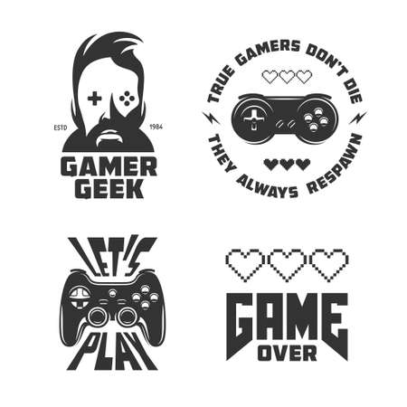 motto: Retro video games related t-shirt design set. Quotes about gaming. Vector vintage illustration.