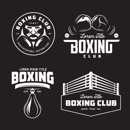 Boxing club labels set. Vector vintage illustration.  イラスト・ベクター素材
