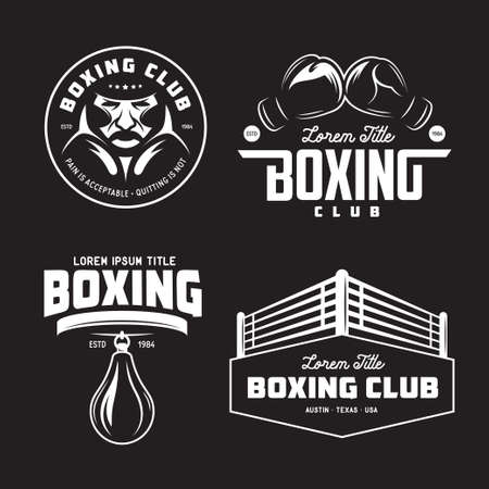 Boxing club labels set. Vector vintage illustration. Фото со стока - 73881392