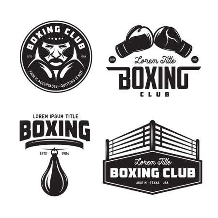 ボクシング クラブのラベルを設定します。ベクトル ビンテージ イラスト。