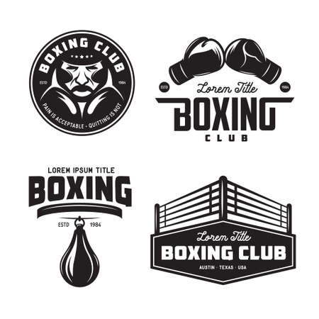 Boxing club labels set. Vector vintage illustration. Vettoriali