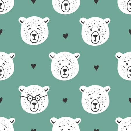Cute bear seamless pattern. Hand drawn vector illustration.
