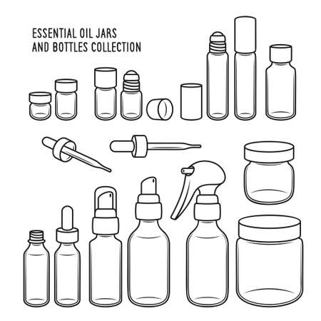 Essential oil jars and bottles design set. Vector vintage illustration. Ilustração