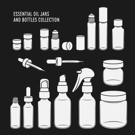 Ensemble de conception de bocaux et de bouteilles d'huile essentielle. Vector vintage illustration.