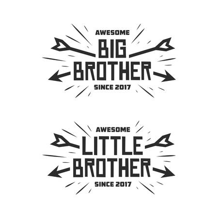 Big brother little brother typography print. Vector vintage illustration. Иллюстрация