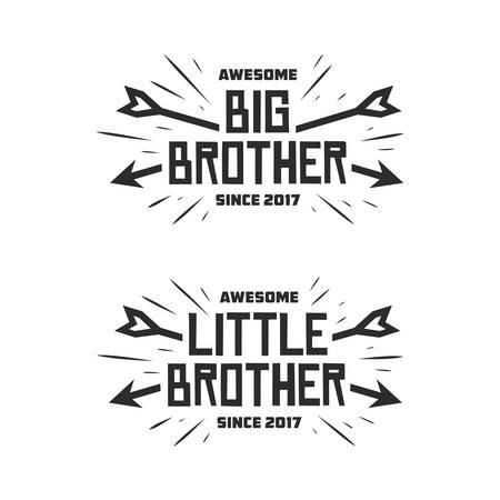 Impresión de la tipografía del pequeño hermano del hermano mayor. Vector la ilustración de la vendimia. Foto de archivo - 76763318