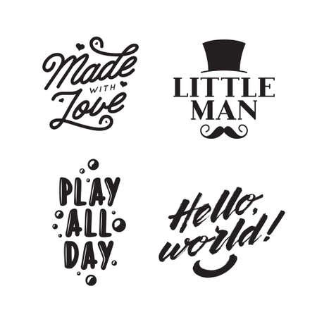 Kid clothes typography prints. Vintage vector illustration.