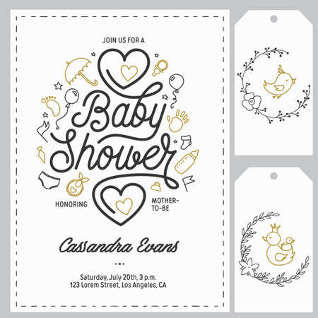 Baby shower invitation templates set. Hand drawn vintage illustration. Illusztráció