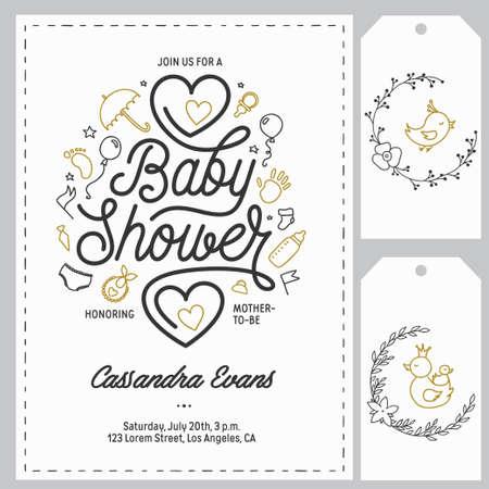 Baby shower invitation templates set. Hand drawn vintage illustration. Vectores