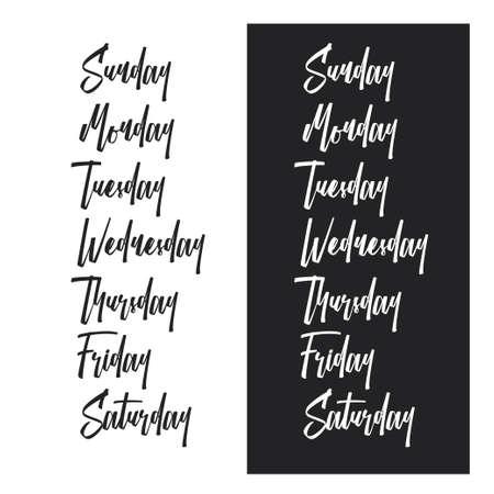 週タイポグラフィの日を設定します。ベクトル ビンテージ イラスト。