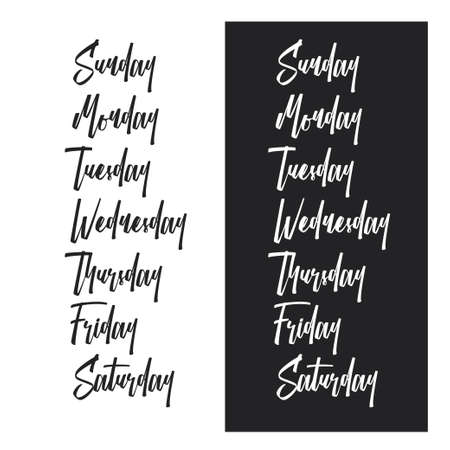 Days of the week typography set. Vector vintage illustration.
