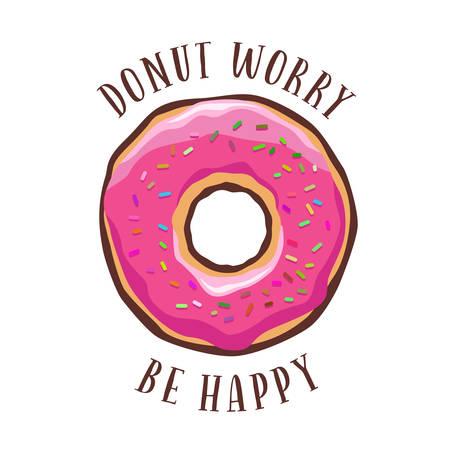 Donut zorg wees gelukkig vintage poster. Vector illustratie.