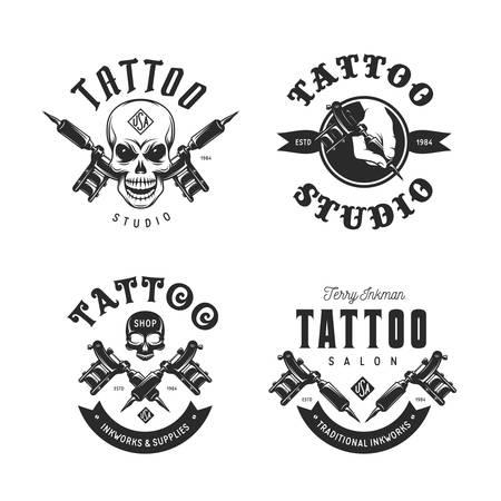 Tattoo studio emblems set. Vector vintage illustration.