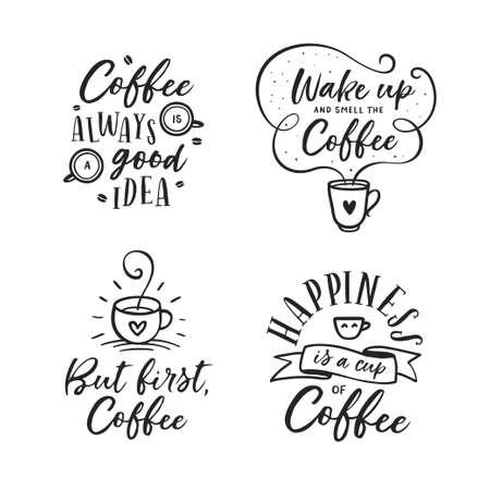 手描きコーヒー関連セットを引用します。ベクトル ビンテージ イラスト。