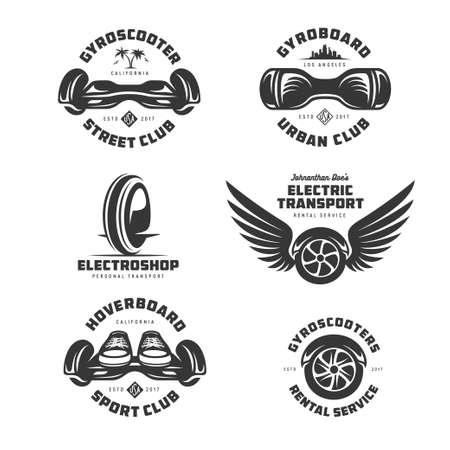 Gyroscooter electric transport labels set. Vector vintage illustration.