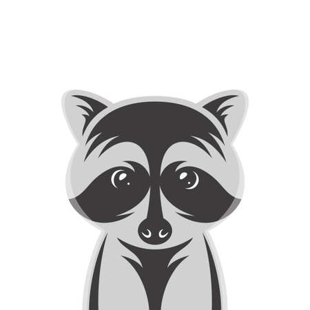 Raccoon baby cartoon style portrait. Nursery vintage vector illustration. Illustration