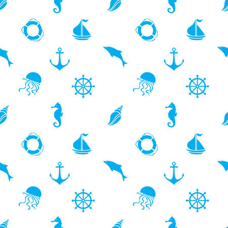 Hand drawn cartoon style nautical seamless pattern. Vector illustration.