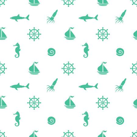 navy blue background: Hand drawn cartoon style nautical seamless pattern. Vector illustration.
