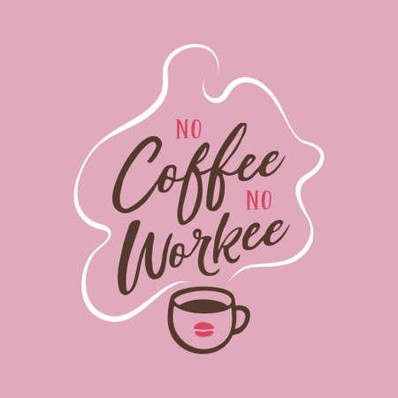Handgetekend koffie gerelateerd citaat. Vector vintage illustratie.