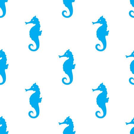 Hand gezeichnetes nahtloses Muster des Karikaturart-Seepferds. Vektor-Illustration Standard-Bild - 83187346