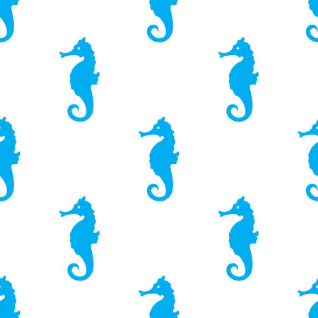 Hand drawn cartoon style sea horse seamless pattern. Vector illustration. Illustration