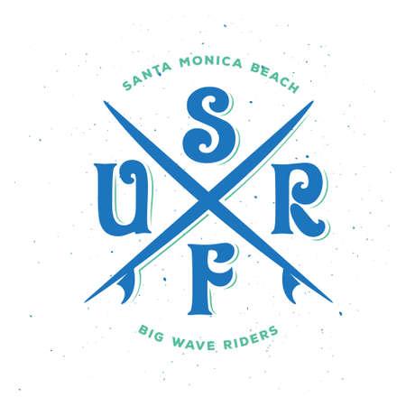 Surf riders typography. Vector vintage illustration. 矢量图像