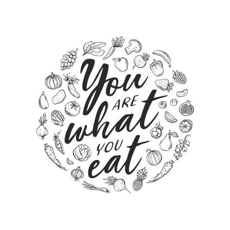 You are what you eat typography print. Vector vintage illustration.
