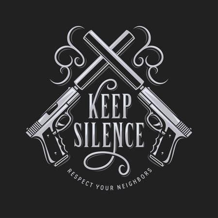 십자형 총으로 침묵 티셔츠 타이포그래피를 유지하십시오. 벡터 빈티지 그림입니다.
