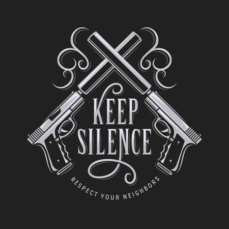 Keep silence t-shirt typography with crossed guns. Vector vintage illustration. Illustration