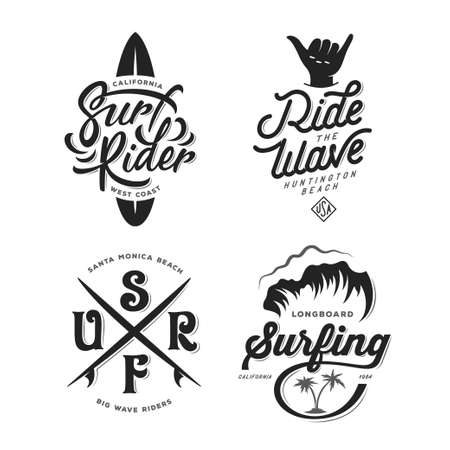 Surf gerelateerde typografie set. Vector vintage illustratie.