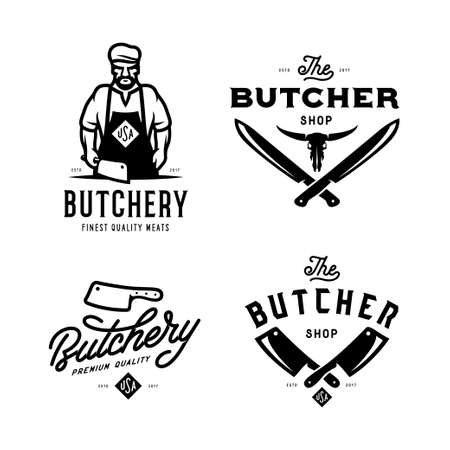 Butcher shop labels badges emblems set. Vector vintage illustration. Vettoriali