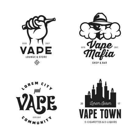 Vape shop labels emblems badges set. Vector vintage illustration. Ilustração